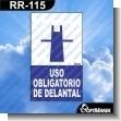 Rotulo Prefabricado - USO OBLIGATORIO DE DELANTAL