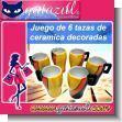 JUEGO DE SEIS TAZAS DE CERAMICA DECORADAS
