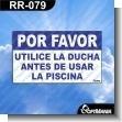 Rotulo Prefabricado - POR FAVOR UTILICE LA DUCHA ANTES DE USAR LA PISCINA