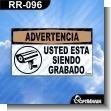 Rotulo Prefabricado - USTED ESTA SIENDO GRABADO