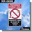 Rotulo Prefabricado - PROHIBIDO FUMAR AQUI AMBIENTE LIBRE DE HUMO DE TABACO LEY 9028