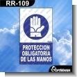 Rotulo Prefabricado - PROTECCION OBLIGATORIA DE LAS MANOS