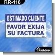 Rotulo Prefabricado - ESTIMADO CLIENTE FAVOR EXIJA SU FACTURA