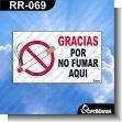 Rotulo Prefabricado - GRACIAS POR NO FUMAR