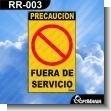 Rotulo Prefabricado - FUERA DE SERVICIO / OUT OF SERVICE