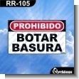 Rotulo Prefabricado - PROHIBIDO BOTAR BASURA