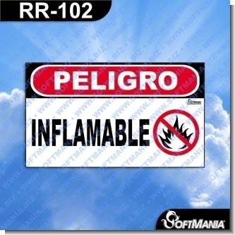 Rotulo Prefabricado - PELIGRO INFLAMABLE